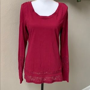 Maurices wine lace detailed long sleeve